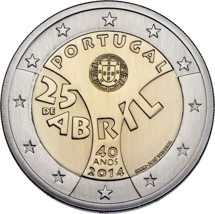 2 euros comemorativa 40 anos 25 abril